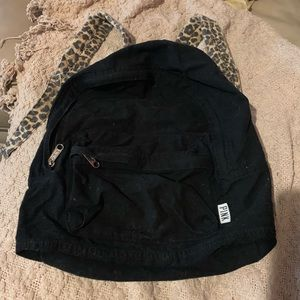 PINK leopard strap black backpack